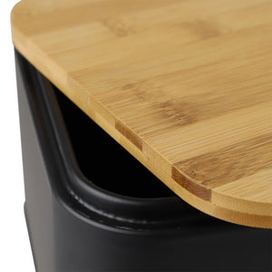 Home Basics Bistro Tin Bread Box with Bamboo Lid, Black CASE PACK OF 4