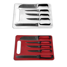 Load image into Gallery viewer, Home Basics 5 Piece Knife Set with Cutting Board - Assorted Colors