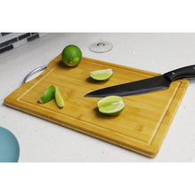 "Load image into Gallery viewer, Home Basics 10"" x 15"" Bamboo Cutting Board with Juice Groove and Stainless Steel Handle CASE PACK OF 12"