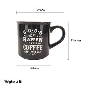 Home Basics Good Things Happen Over Coffee Bone China 12 oz. Novelty Mug