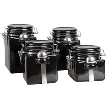 Load image into Gallery viewer, Home Basics 4 Piece Square Ceramic Canisters with Metal Spoons, Black CASE PACK OF 2