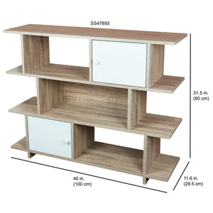 Home Basics 3 Tier Wood Display Book Shelf Organizer Unit with 2 Cabinet Doors, Oak CASE PACK OF 1