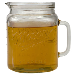 Home Basics 67.7 oz Glass Mason Jar Pitcher with Measurement Markings and Easy Grip Handle, Clear CASE PACK OF 6