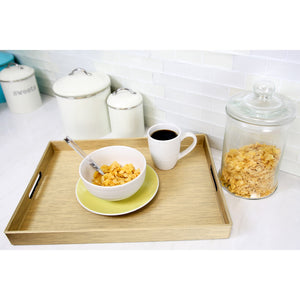 Home Basics Metallic Weave Serving Tray with Cut-Out Handles, Gold CASE PACK OF 6