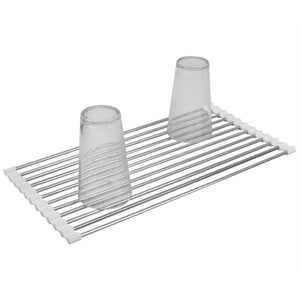 Home Basics Multi-Purpose Flexible Silicone and Stainless Steel Roll Up Dish Drying Rack, White CASE PACK OF 12