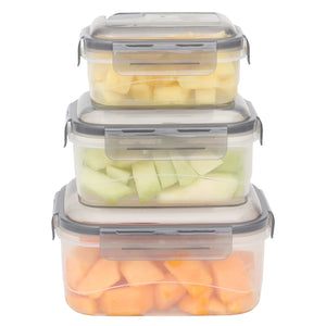 Home Basics Locking Rectangle Food Storage Containers with Grey Steam Vented Lids, (Set of 6) CASE PACK OF 12