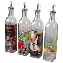 Load image into Gallery viewer, Home Basics 16 oz. Printed Pattern Tall Glass Oil and Vinegar Bottle with  Stainless Steel Spout