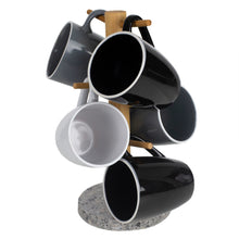 Load image into Gallery viewer, Home Basics 6 Cup Bamboo Mug Tree Holder Stand with Granite Base, White CASE PACK OF 6