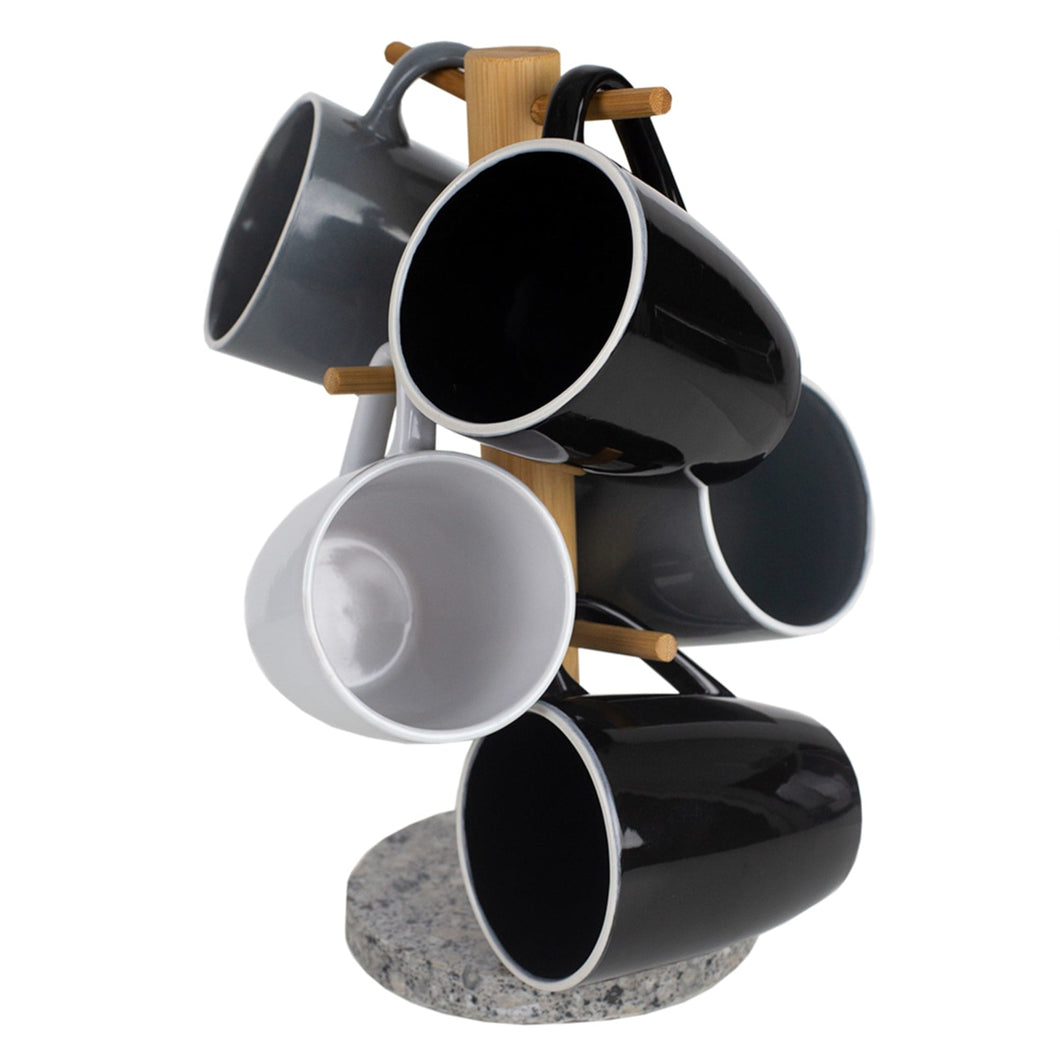 Home Basics 6 Cup Bamboo Mug Tree Holder Stand with Granite Base, White CASE PACK OF 6
