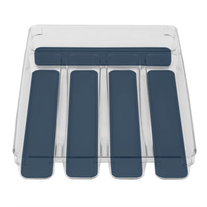 Michael Graves Design Medium 5 Compartment Rubber Lined Plastic Cutlery Tray, Indigo CASE PACK OF 12