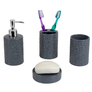 Home Basics 4 Piece Ceramic Crocodile Bath Accessory Set, Grey CASE PACK OF 12