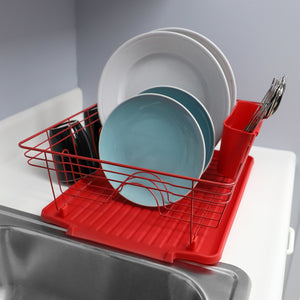Home Basics Contempo 3 Piece Dish Rack, Red CASE PACK OF 6