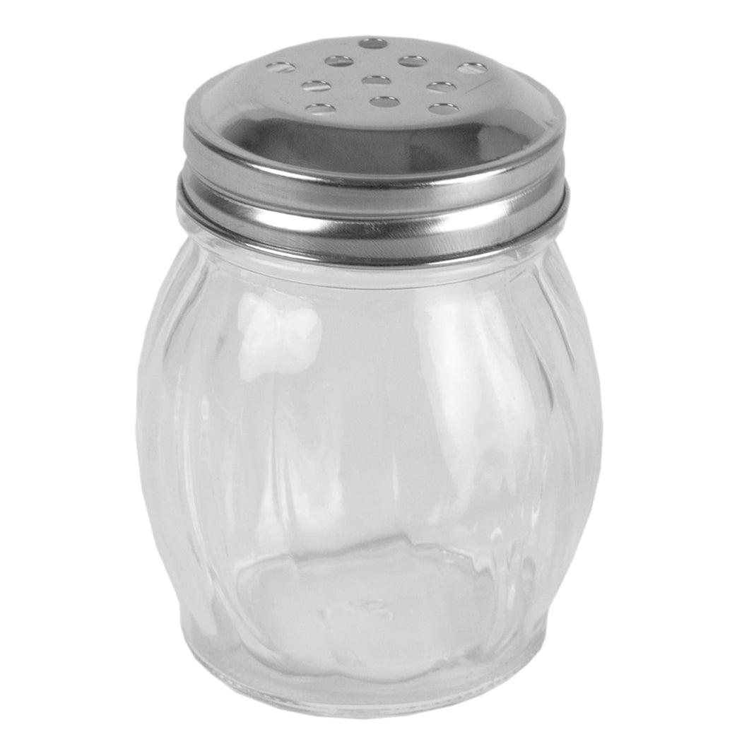 Home Basics  Bulb Shape Swirl Glass Pizza Parlor Style All Purpose Cheese & Spice Condiment Shaker with Stainless Steel Twist-On Lid, Clear CASE PACK OF 6