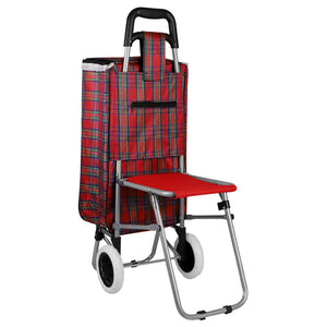 Home Basics Plaid Rolling Shopping Cart with Foldable Built-in Seat - Assorted Colors