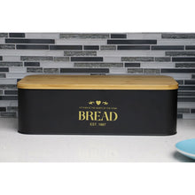 Load image into Gallery viewer, Home Basics Bistro Tin Bread Box with Bamboo Lid, Black CASE PACK OF 4