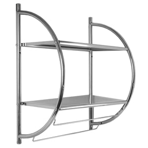 Home Basics 2 Tier Wall Mounting Chrome Plated Steel Bathroom Shelf with Towel Bar CASE PACK OF 6