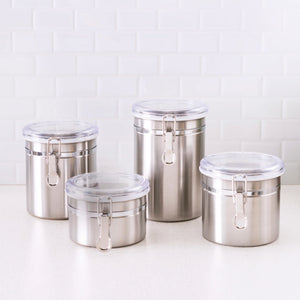 Home Basics 4 Piece Stainless Steel Canister Set CASE PACK OF 6