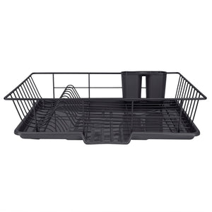 Home Basics 3 Piece Rust-Resistant Vinyl Dish Drainer with Self-Draining Drip Tray, Black CASE PACK OF 6