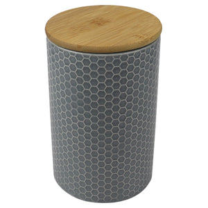 Home Basics Honeycomb Large Ceramic Canister, Grey CASE PACK OF 12