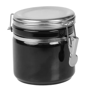 Home Basics 25 oz. Canister with Stainless Steel Top, Black CASE PACK OF 8