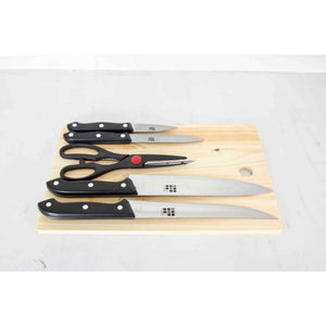 Home Basics Essentials Series 5 Piece Stainless Steel Knife Set with All Natural Wood Cutting Board CASE PACK OF 12