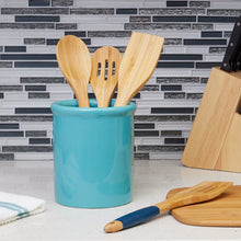 Load image into Gallery viewer, Home Basics Glazed Ceramic Utensil Crock, Turquoise CASE PACK OF 6