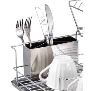 Home Basics 2-Tier 3 Piece Steel Dish Drainer CASE PACK OF 6