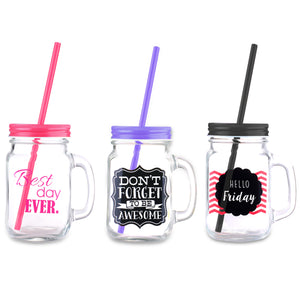 Home Basics Mason Jar Printed with Handle