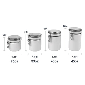Home Basics 4 Piece  Canister Set with Stainless Steel Tops CASE PACK OF 2