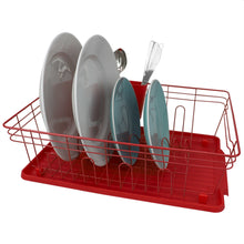 Load image into Gallery viewer, Home Basics Contempo 3 Piece Dish Rack, Red CASE PACK OF 6