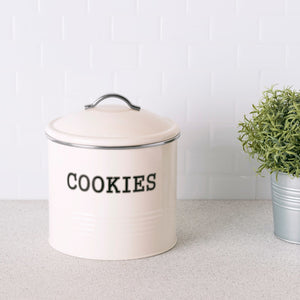 Home Basics Tin Cookie Jar, Ivory CASE PACK OF 4