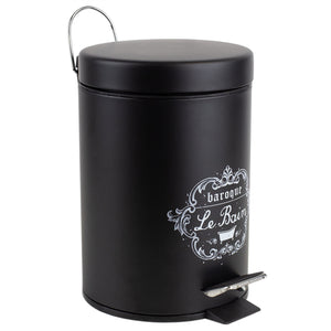 Home Basics 3 LT Paris Le Bain Step On  Steel Waste Bin with Carrying Handle, Black CASE PACK OF 6