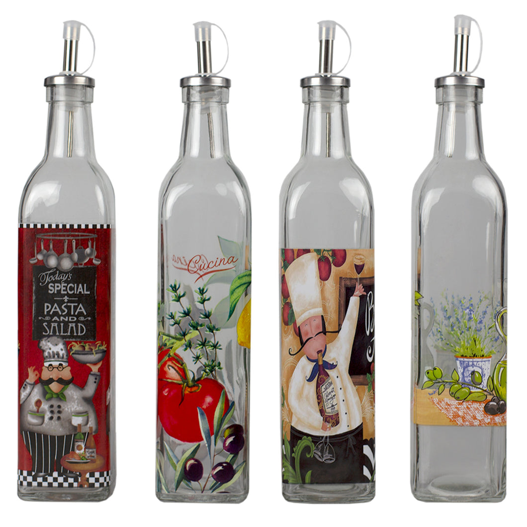 Home Basics 16 oz. Printed Pattern Tall Glass Oil and Vinegar Bottle with  Stainless Steel Spout