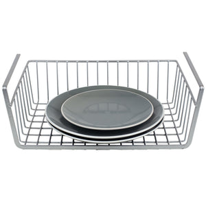 Home Basics Large Under Shelf Vinyl Coated Steel Basket, Silver CASE PACK OF 6