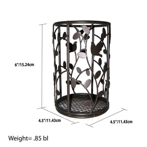 Home Basics Birdsong Collection Steel Free-Standing Round Cutlery Holder, Dark Brown CASE PACK OF 12
