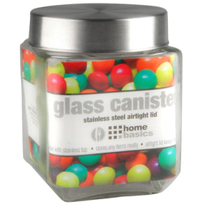 Home Basics 40 oz. Square Glass Canister with Brushed Stainless Steel Screw-on Lid Clear CASE PACK OF 24