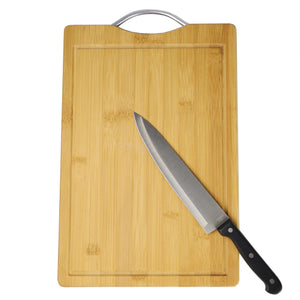 "Home Basics 10"" x 15"" Bamboo Cutting Board with Juice Groove and Stainless Steel Handle CASE PACK OF 12"