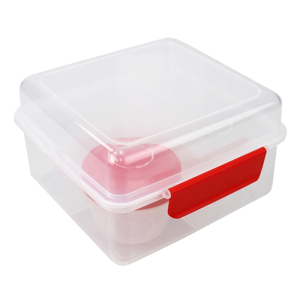 Home Basics Locking Multi-Compartment Plastic Lunch Box with Small Food Storage Container, Red CASE PACK OF 12