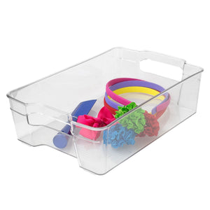 Home Basics Multi-Purpose Plastic Fridge Bin, Clear CASE PACK OF 12