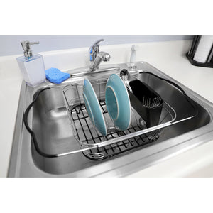 Home Basics Expandable Over the Sink Steel Wire Dish Rack with Coated Handles, Chrome CASE PACK OF 6