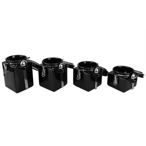 Home Basics 4 Piece Square Ceramic Canisters with Metal Spoons, Black CASE PACK OF 2