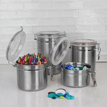 Load image into Gallery viewer, Home Basics 4 Piece Stainless Steel Canister Set CASE PACK OF 6