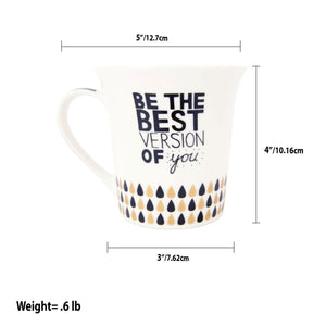Home Basics Motivational Quote Bone China 12 oz.  Novelty Mug