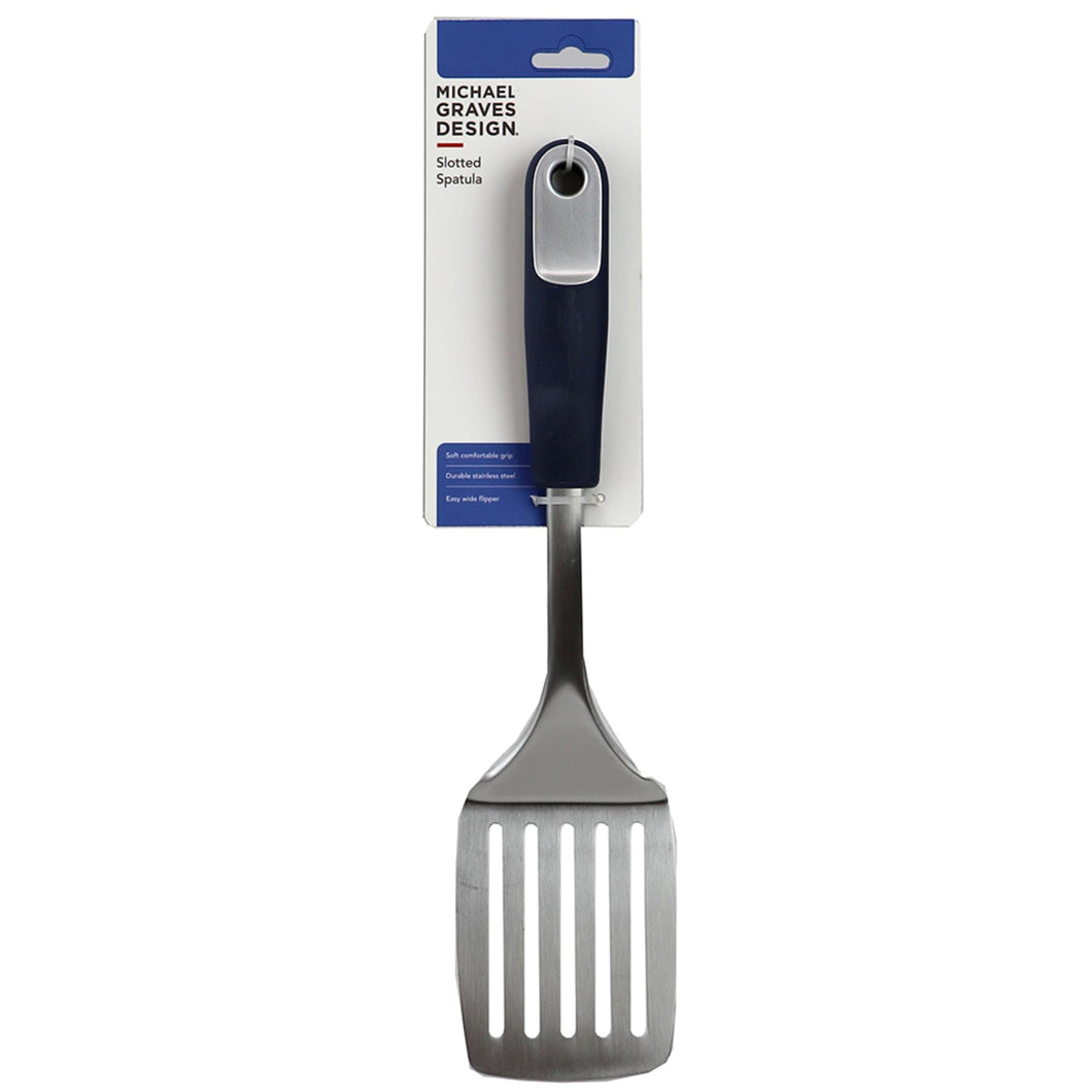 Michael Graves Design Comfortable Grip Stainless Steel Slotted Spatula, Indigo CASE PACK OF 24