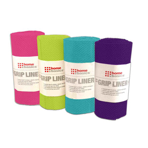 "Home Basics Brights Collection Non-Adhesive  12"" x 240""  Rubber Shelf Grip Liner - Assorted Colors"