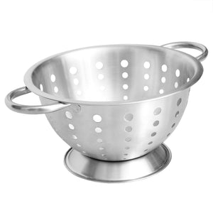 Home Basics 3 Qt Deep Stainless Steel Colander with Easy Grip Handles, Silver CASE PACK OF 12