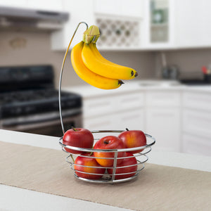 Home Basics Chrome Plated Steel Fruit Basket with Banana Tree CASE PACK OF 6
