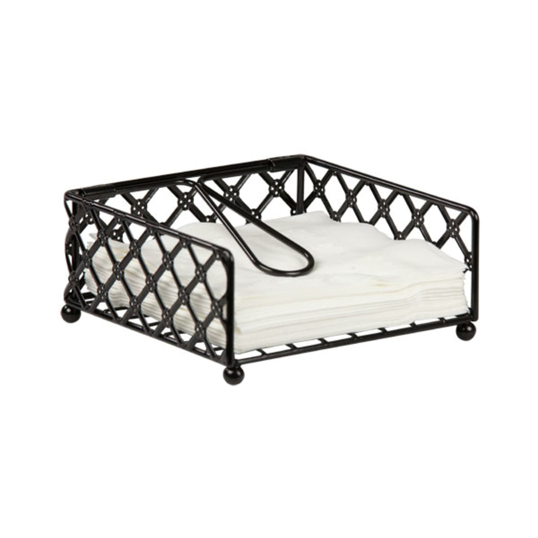 Home Basics Lattice Collection Flat Napkin Holder with Weighted Pivoting Arm, Black CASE PACK OF 12