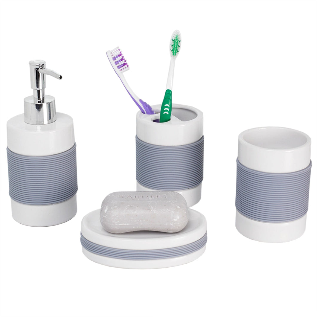 Home Basics 4 Piece Bath Accessory Set with Rubber Grip CASE PACK OF 12