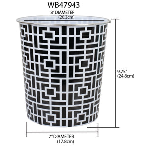 Home Basics Square 5 Liter Open Top Compact  Decorative Round Waste Bin
